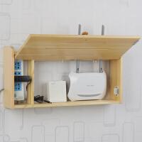 实木无线路由器收纳盒壁挂wifi电源电线收纳架子墙上遮挡箱免打孔