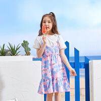 【2件3折:64】巴帝巴帝童装女童套装2019春夏新款时尚套装两件套连衣裙