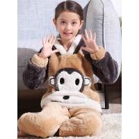 儿童法兰绒睡衣女童秋冬季厚款中大童小女孩珊瑚绒宝宝家居服套装