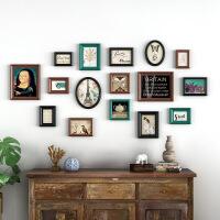 美式照片墙装饰免打孔实木客厅餐厅复古欧式相框挂墙创意个性组合