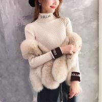 打底针织衫女秋冬韩版修身显瘦字母短款长袖内搭学生高领毛衣