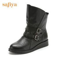 索菲娅(Safiya) 牛皮革坡跟圆头休闲短靴SF44114402 黑色