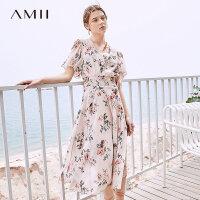 【3折价:214元/再叠优惠券】Amii极简法式少女度假连衣裙女2019夏季新V领印花雪纺两件套裙子