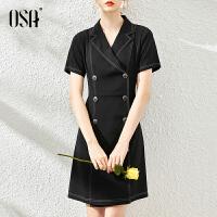 【2件1.5折价:189元】OSA欧莎黑色OL职业双排扣西装连衣裙女夏季2021年新款中长款正装裙子