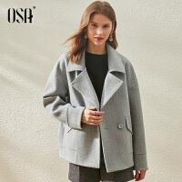 【折后叠券预估价:215元】OSA欧莎赫本风短款毛呢斗篷外套女春秋季2021年新款小个子呢子大衣厚