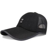 帽子男夏天韩版棒球帽休闲鸭舌帽遮阳网帽透气太阳帽 黑色 均码可调节(54-62)
