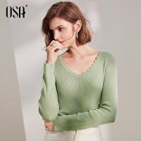 【2件3折价:104.3】欧莎长袖针织衫绿色毛衣女宽松2019新款秋薄款上衣V领套头打底衫