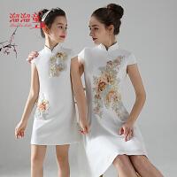 女童旗袍绣花公主裙夏季亲子装旗袍母女装白色薄款短袖连衣裙