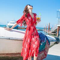 时尚品牌沙滩裙韩版连衣裙女夏2019新款超仙海边度假红裙子SN3936 红色 X