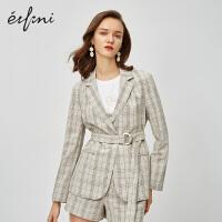 伊芙丽西装外套女2020新款韩版法式小外套英伦风气质格子女士西服