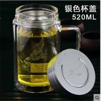 健牌大容量双层玻璃杯380-570ml男女士透明带盖过滤防漏茶杯