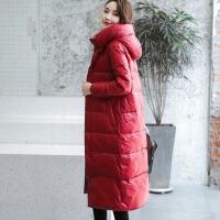 【】女装真鸭绒羽绒服女中长款修身韩版过膝红色2019 红色 酒红色