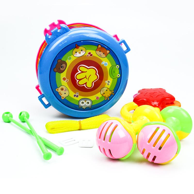 儿童益智玩具敲打乐器婴幼儿摇铃组合套装宝宝拍拍鼓7hu 锻炼宝宝手部肌肉