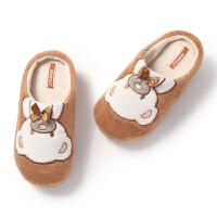 秋冬新款儿童室内家居软底半包跟棉鞋男孩女孩拖鞋