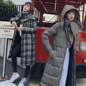 RANJU然聚2018秋季女装新品新款韩版长款修身配围巾格子棉衣外套女