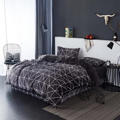 当当优品暖绒四件套 抗静电加厚细密保暖床品 双人加大1.8米床 棕咖当当自营 MUJI制造商代工