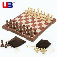 UB友邦桌飞 大号仿木纹磁性国际象棋+西洋跳棋折叠式儿童入门