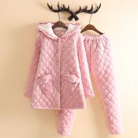 卡通可爱水晶绒夹棉睡衣女冬季加厚加绒少女款修身个性家居服套装 粉色 5357 XL (108-118斤左右)