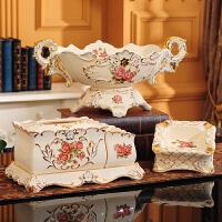 欧式果盘三件套水果盘客厅陶瓷奢华套装现代创意家用装饰茶几摆件 B款 玫瑰果盘三件套