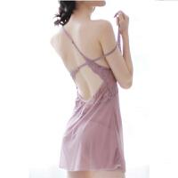 极度性感睡衣诱惑透明夏季露背蕾丝情趣内衣吊带睡裙家居服套装女 M 95至110斤