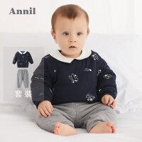 【2件35折:139.7】安奈儿童装男童婴童棉衣套装2019秋装新款宝宝棉服两件套