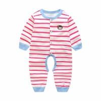 婴儿连体衣棉0-12个月男女宝宝衣服条纹长袖哈衣薄款秋装