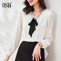 OSA白色网纱OL雪纺衬衫女士长袖2021新款春装蝴蝶结上衣时尚气质