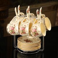 欧式咖啡杯套装英式茶杯茶具杯碟欧美陶瓷红茶杯下午茶杯子送架子