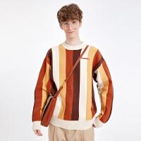 2.5折价:128;Lilbetter毛衣男时尚针织衫韩版条纹线衣潮流款式个性外套毛衣潮