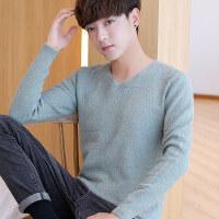 春秋季毛衣男V领韩版修身纯色打底衫男士针织衫潮流青年薄款线衣