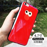 苹果6plus手机壳iphone6s保护套防摔软硅胶i6情侣6splus男女六 红色鬼脸-i6/6s 4.7寸