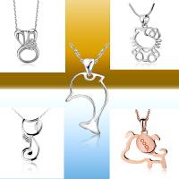 相思树 时尚镂空海豚小狗白兔kitty猫925纯银项链日韩版女生吊坠