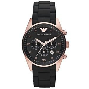 阿玛尼(ARMANI) 手表多功能三眼计时 橡胶包钢 奢华 石英男表 AR5905