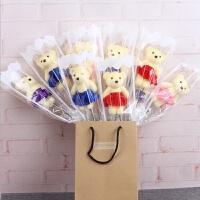 单支小熊袋装韩版玫瑰香皂肥皂花情人节活动庆典小礼物扫街教师节A