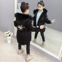 儿童棉衣2018新款洋气女孩加厚中长款外套印花棉袄冬