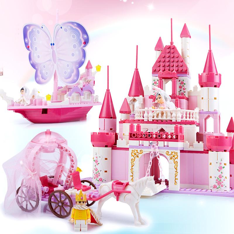 橙爱智慧帆 乐高式拼插积木 梦幻城堡女孩拼装积木玩具 塑料拼插女孩过家家玩具 儿童益智拼搭积木玩具 女孩礼物益智玩具限时钜惠