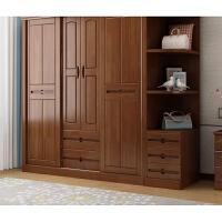 实木衣柜推拉门2门4门衣橱现代中式卧室衣柜实木家具组装 四门【颜色备注】 +边柜+顶柜