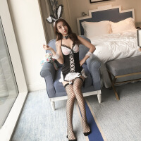 情趣内衣兔女郎套装带罩杯制服性感可爱空姐学生酒吧派对 黑白兔女郎8件套 均码