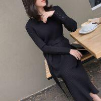修身黑色针织连衣裙秋冬季打底衫女中长毛衣裙长款过膝百搭装 黑色 款号:8272 S 80-95斤