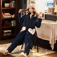 黛梦思珊瑚绒夹棉睡衣女冬保暖三层加厚家居服套装秋冬季长款睡袍
