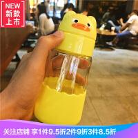 潮流卡通可爱吸管玻璃杯儿童学生耐热防爆便携水杯带盖