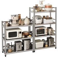 厨房微波炉架不绣刚 置物架落地多层厨具微波炉架用品烤箱收纳储物架三层