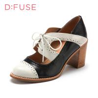 迪芙斯(D:FUSE)女鞋 牛皮革方跟圆头时尚单鞋 DF51114006 黑色