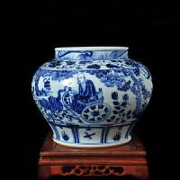 陶瓷花瓶仿古手绘元代鬼谷下山青花瓷器装饰工艺品乔迁新居装饰品开业送人摆件礼物