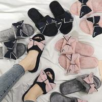 韩版蝴蝶结毛毛拖鞋女外穿秋冬季时尚家居家室内毛绒绒可爱棉拖鞋