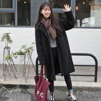 毛呢外套女韩版宽松中长款秋冬装小个子学生大码加厚呢子大衣