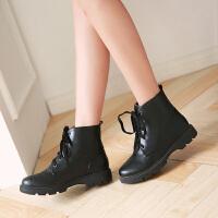 彼艾2016新款短靴女秋冬马丁靴女英伦风前系带平底骑士机车靴子潮靴子