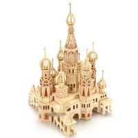 拼插玩具纸板 木质3d立体拼图玩具建筑模型 木制积木拼装城堡