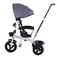 儿童双向脚踏车三轮车带推杆宝宝手推车三轮车橡胶轮童车1-6岁313四合一