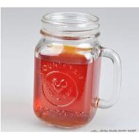 鸡公杯 鸡公杯罐头瓶水杯带把耐热带盖玻璃杯子透明方形奶茶杯带吸管